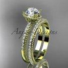 14kt yellow gold diamond unique engagement set, wedding ring ADER86S