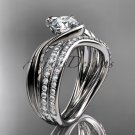 14kt white gold diamond leaf and vine engagement set with a Moissanite center stone ADLR78S