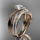 14kt rose gold diamond leaf and vine engagement set with a Moissanite center stone ADLR78S