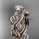14kt rose gold celtic trinity knot engagement set with a Moissanite center stone CT768S