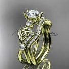 14kt yellow gold celtic trinity knot engagement set with a Moissanite center stone CT768S