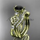14kt yellow gold celtic trinity knot engagement set with a Black Diamond center stone CT768S