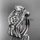 14kt white gold celtic trinity knot engagement ring, wedding ring with double matching band CT768S