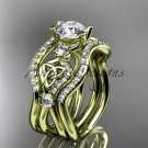 14kt yellow gold celtic trinity knot engagement ring, wedding ring with double matching band CT768S