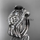 14kt white gold celtic trinity knot engagement ring,Black Diamond, double matching band CT768S