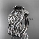 platinum  celtic trinity knot engagement ring,Black Diamond, double matching band CT768S