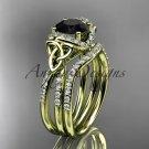 14kt yellow gold diamond celtic trinity knot engagement set,Black Diamond  CT7155S