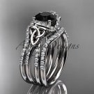 14k white gold diamond celtic trinity knot wedding ring,Black Diamond,double matching band CT7155S