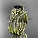 14k yellow gold diamond celtic trinity knot wedding ring,Black Diamond,double matching band CT7155S
