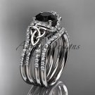 Platinum  diamond celtic trinity knot wedding ring,Black Diamond,double matching band CT7155S