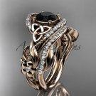 14kt rose gold diamond celtic trinity knot engagement set with a Black Diamond center stone CT7211S