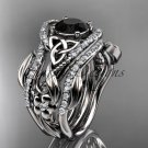 14kt white gold diamond celtic trinity knot wedding ring,Black Diamond,double matching band CT7211S