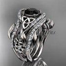 Platinum  diamond celtic trinity knot wedding ring,Black Diamond,double matching band CT7211S