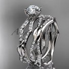 14k white gold diamond leaf and vine wedding ring, engagement set ADLR353S