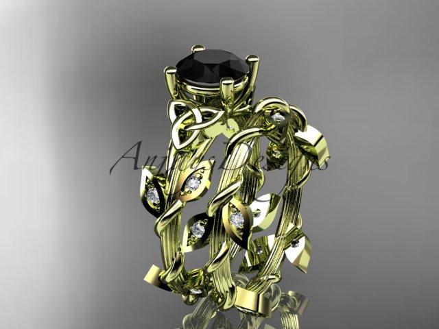 14kt yellow gold diamond celtic trinity knot engagement ring, Black Diamond CT7215S