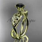 14kt yellow gold diamond celtic trinity knot wedding ring, engagement ring, Black Diamond  CT7221