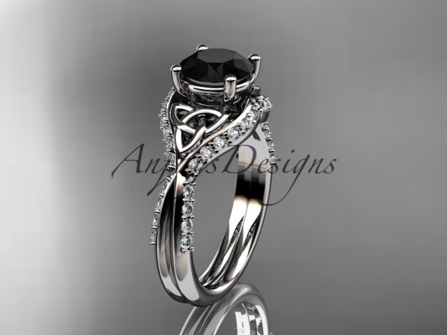 14kt white gold diamond celtic trinity knot engagement ring with a Black Diamond center stone CT7224