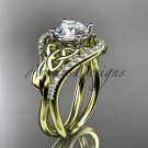 14kt yellow gold diamond celtic trinity knot engagement ring with a Moissanite center stone CT724
