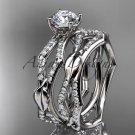 Platinum  diamond leaf and vine engagement set with a F Moissanite center stone ADLR353S