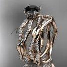 14k rose gold diamond leaf and vine  engagement set with a Black Diamond center stone ADLR353S