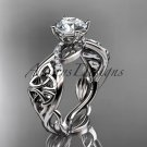 14kt white gold diamond celtic trinity knot engagement ring with a Moissanite center stone CT7270