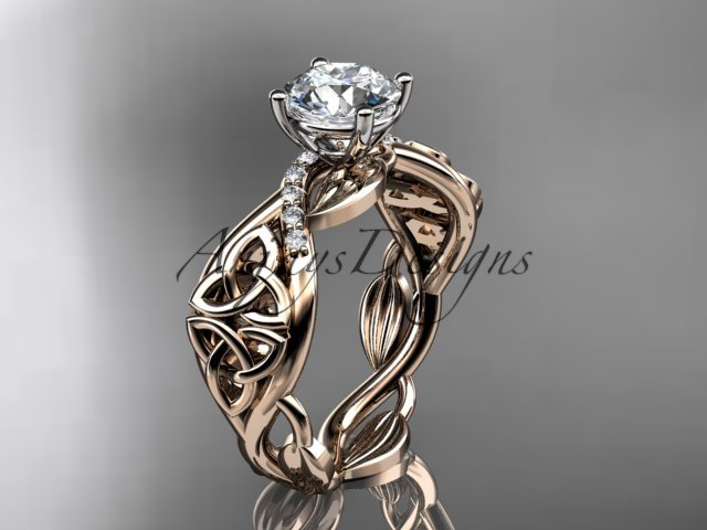 14kt rose gold diamond celtic trinity knot engagement ring with a Moissanite center stone CT7270