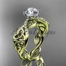 14kt yellow gold diamond celtic trinity knot engagement ring with a Moissanite center stone CT7270