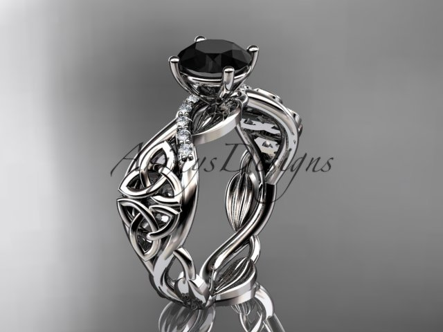 14kt white gold diamond celtic trinity knot engagement ring with a Black Diamond center stone CT7270