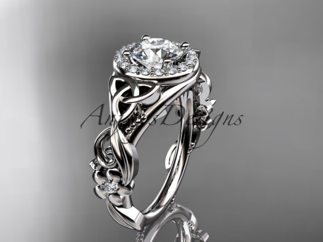 14kt white gold diamond celtic trinity knot engagement ring with a Moissanite center stone CT7300