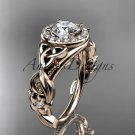 14kt rose gold diamond celtic trinity knot engagement ring with a Moissanite center stone CT7300