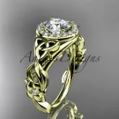 14kt yellow gold diamond celtic trinity knot engagement ring with a Moissanite center stone CT7300
