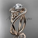 14kt rose gold diamond celtic trinity knot engagement ring with a  Moissanite center stone CT7320