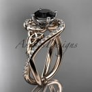 14kt rose gold diamond celtic trinity knot engagement ring with a Black Diamond center stone CT7320