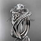 14kt white gold diamond celtic trinity knot engagement set with a Moissanite center stone CT7320S