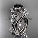 14kt white gold diamond celtic trinity knot engagement set with a Black Diamond center stone CT7320S