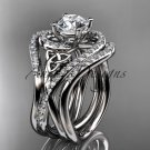 14kt white gold diamond celtic trinity knot engagement ring with double matching band CT7320S