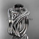 14kt white gold diamond celtic trinity knot wedding ring,Black Diamond,double matching band CT7320S