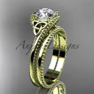 14kt yellow gold celtic trinity knot engagement set with a Moissanite center stone CT7322