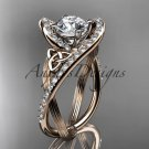 14kt rose gold diamond celtic trinity knot engagement ring with a Moissanite center stone CT7369