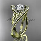 14kt yellow gold diamond celtic trinity knot engagement ring with a Moissanite center stone CT7369