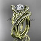 14kt yellow gold diamond celtic trinity knot engagement set with a Moissanite center stone CT7369S