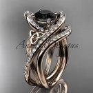 14kt rose gold diamond celtic trinity knot engagement set with a Black Diamond center stone CT7369S
