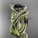 14k yellow gold diamond celtic trinity knot engagement set with a Black Diamond center stone CT7369S