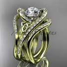 14kt yelow gold diamond celtic trinity knot engagement ring with double matching band CT7369S