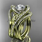 14kt yellow gold diamond celtic trinity knot wedding ring ,Moissanite , double matching band CT7369S