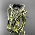 14k yellow gold diamond celtic trinity knot wedding ring, Black Diamond,double matching band CT7369S