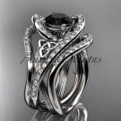 Platinum  diamond celtic trinity knot wedding ring, Black Diamond,double matching band CT7369S