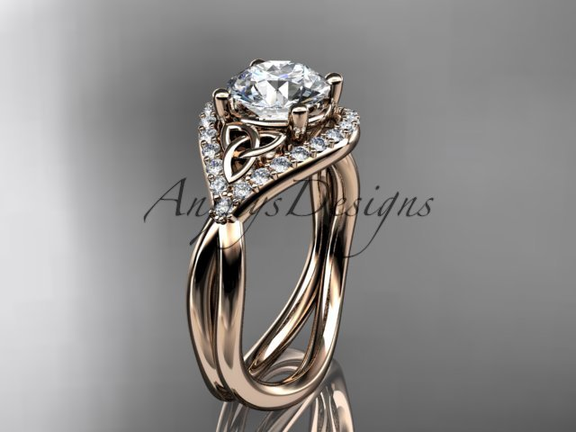 14kt rose gold diamond celtic trinity knot engagement ring with a Moissanite center stone CT7390