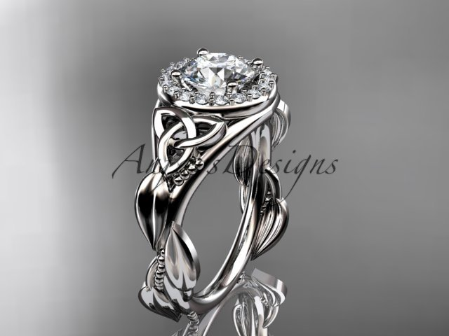 14kt white gold diamond celtic trinity knot engagement ring with a Moissanite center stone CT7327