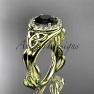14kt yellow gold diamond celtic trinity knot wedding ring with a Black Diamond center stone CT7327